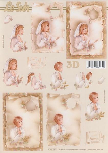 3D Motivbogen Betender Junge und Mädchen