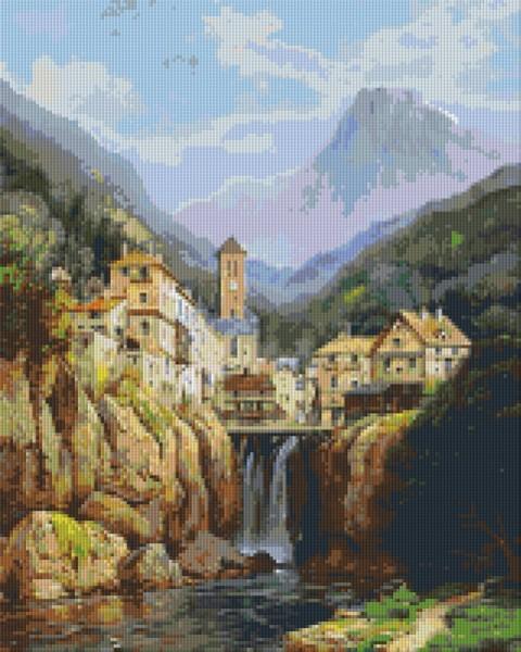 Set Bergdorf mit Wasserfall