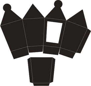 3D-Laternenbox schwarz