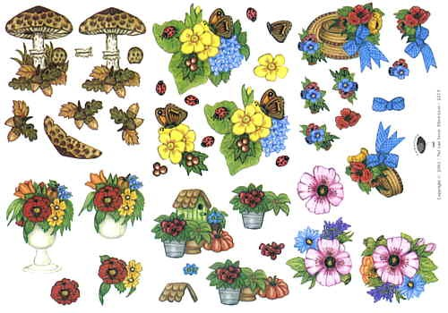 Motivbogen Blumen und Pilze