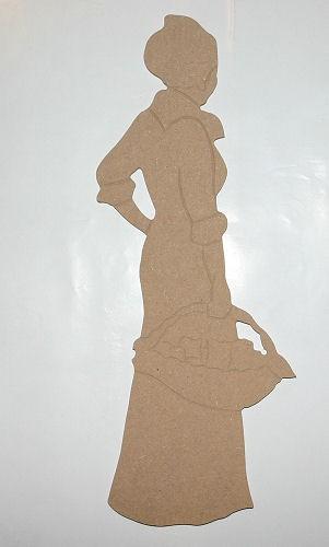 Holz-Dekor Dame mit Korb