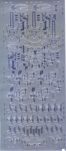 Sticker Musikinstrumente silber