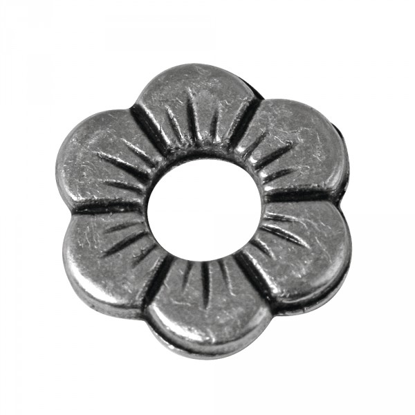 Metall Zierelement Blume 12mm altsilber