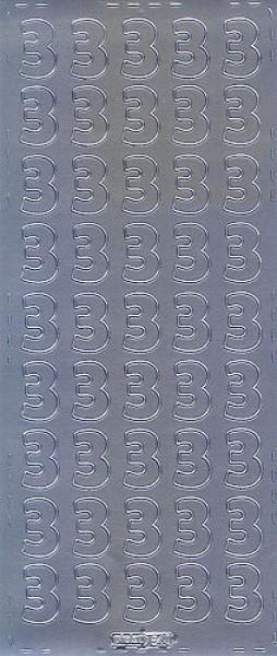 Sticker Ziffer 3 20mm silber