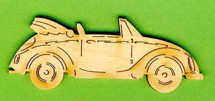 Holz-Deko Cabriolet 10cm
