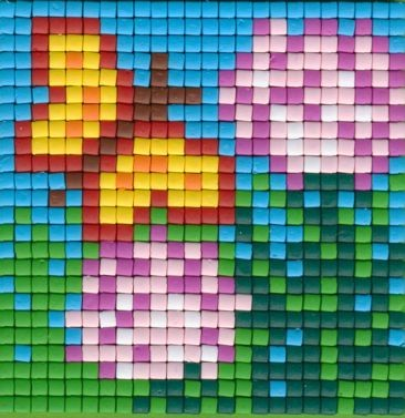 Set kleine Basisplatte Schmetterling und Blume