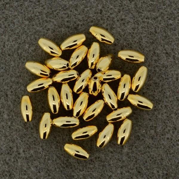 Oliven gold 4x8mm 20 Stück