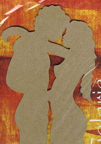 Holz-Dekor Mann und Frau groß