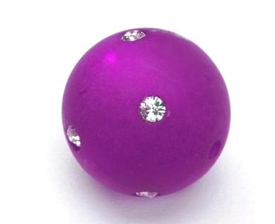 Polarisperle 14mm mit Swarovski-Strass violett