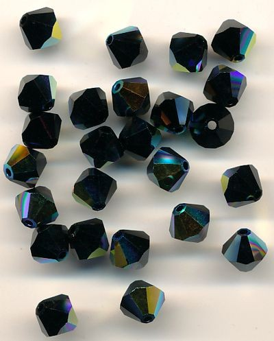 Swarovski Glasschliffperlen 6mm obsidian