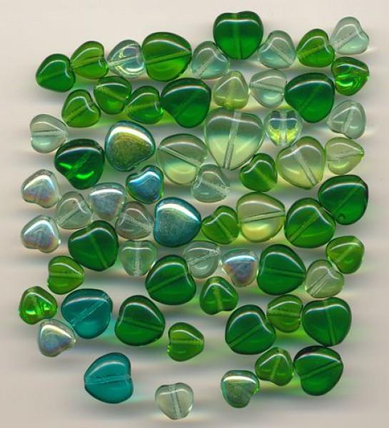 Glasherzen-Mix grün