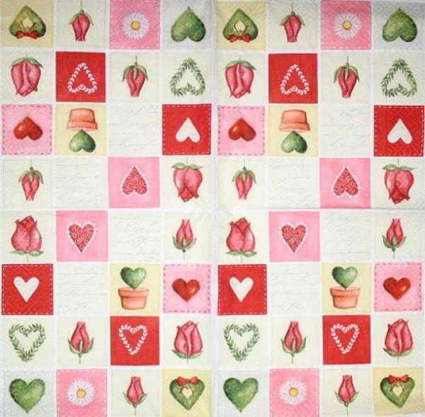 Serviette Love Puzzle bunt