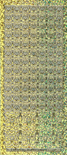Sticker Herzornamente gold hologramm