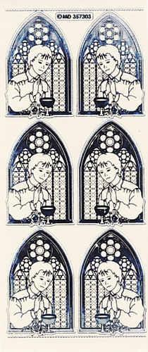 kv357303s Sticker Konfirmation Junge silber/transparent