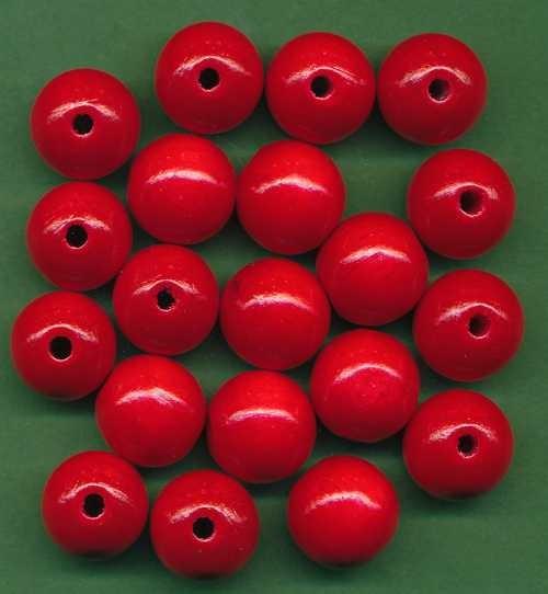 Holzperlen 14mm rot