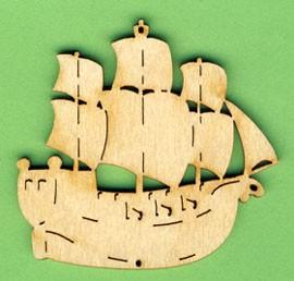 holz deko schiff dreimaster 6cm piraten dekoteile holz basteln von a z bastelshop. Black Bedroom Furniture Sets. Home Design Ideas