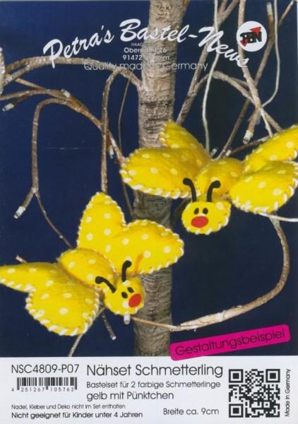 Filz-Nähset Schmetterling gelb mit Pünktchen