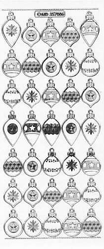 Sticker Weihnachtskugeln silber