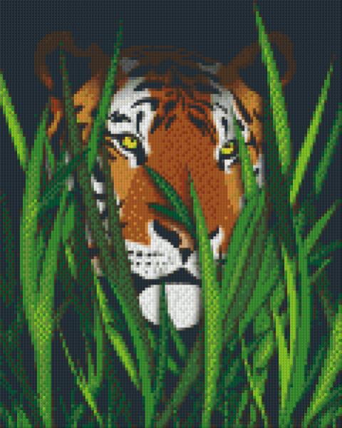 809227 Pixelset Tiger zwischen Gras mit 9 Platten