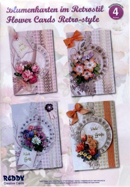 Blumenkarten im Retrostil